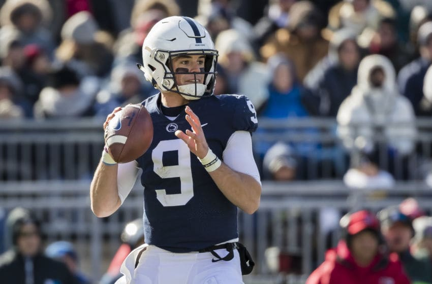 STATE COLLEGE, PA - NOVEMBER 10: Trace McSorley #9 of the Penn State Nittany Lions drops back to pass against the Wisconsin Badgers during the first half at Beaver Stadium on November 10, 2018 in State College, Pennsylvania. (Photo by Scott Taetsch/Getty Images)