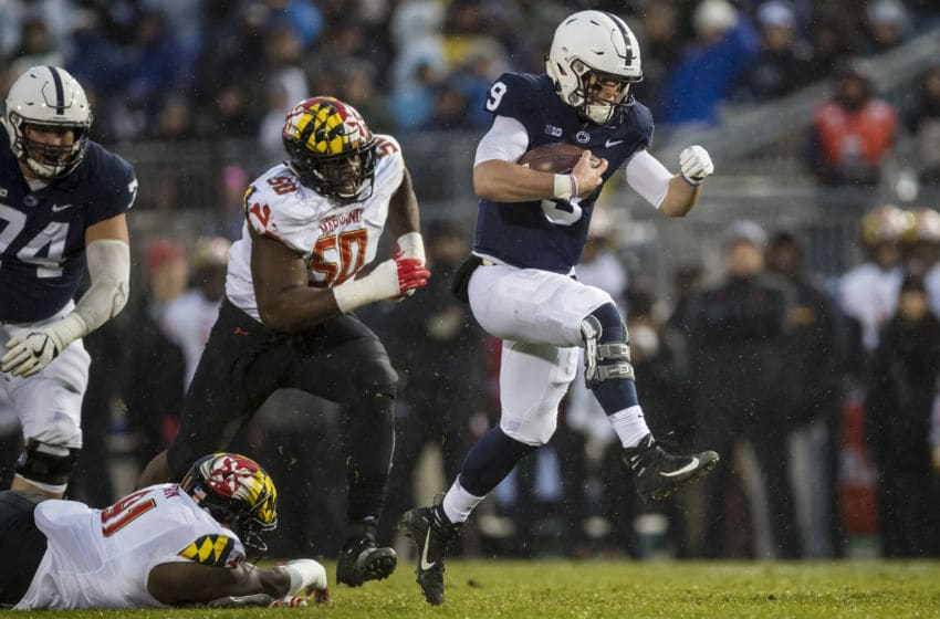 STATE COLLEGE, PA - NOVEMBER 24: Trace McSorley #9 of the Penn State Nittany Lions rushes for his second touchdown against the Maryland Terrapins during the first quarter at Beaver Stadium on November 24, 2018 in State College, Pennsylvania. (Photo by Scott Taetsch/Getty Images)