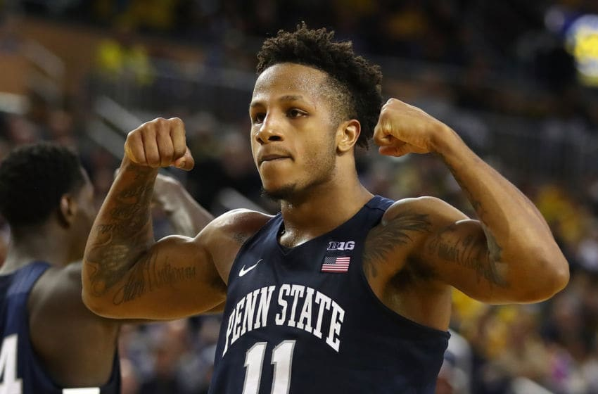 ANN ARBOR, MICHIGAN - JANUARY 03: Lamar Stevens #11 of the Penn State Nittany Lions reacts in the second half while playing the Michigan Wolverines at Crisler Arena on January 03, 2019 in Ann Arbor, Michigan. Michigan won the game 68-55. (Photo by Gregory Shamus/Getty Images)