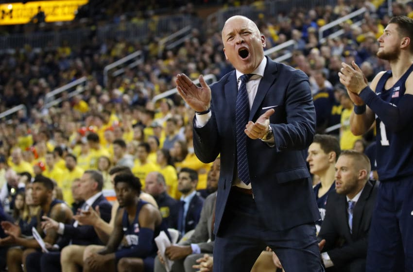 ANN ARBOR, MICHIGAN - JANUARY 03: Head coach Pat Chambers of the Penn State Nittany Lions reacts during the second half while playing the Michigan Wolverines at Crisler Arena on January 03, 2019 in Ann Arbor, Michigan. Michigan won the game 68-55. (Photo by Gregory Shamus/Getty Images)
