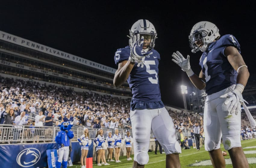 STATE COLLEGE, PA - SEPTEMBER 07: Jahan Dotson #5 of the Penn State Nittany Lions celebrates with KJ Hamler #1 after scoring a touchdown against the Buffalo Bulls during the second half at Beaver Stadium on September 07, 2019 in State College, Pennsylvania. (Photo by Scott Taetsch/Getty Images)