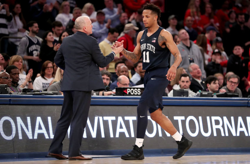 NEW YORK, NY - MARCH 29: Lamar Stevens #11 of the Penn State Nittany Lions shakes hands with head coach Pat Chambers of the Penn State Nittany Lions after finishing the game against the Utah Utes during the 2018 NIT Championship game at Madison Square Garden on March 29, 2018 in New York City. (Photo by Abbie Parr/Getty Images)