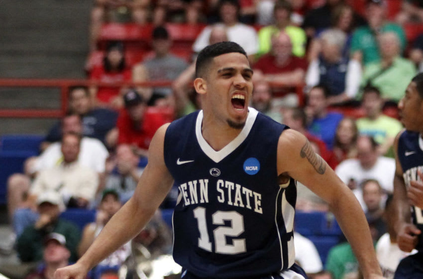 TUCSON, AZ - MARCH 17: Talor Battle #12 of the Penn State Nittany Lions celebrates after scoring a three-pointer against the Temple Owls during the second round of the 2011 NCAA men's basketball tournament at McKale Center on March 17, 2011 in Tucson, Arizona. (Photo by Christian Petersen/Getty Images)