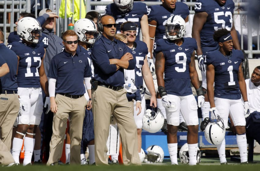 STATE COLLEGE, PA - SEPTEMBER 09: Head coach James Franklin of the Penn State Nittany Lions looks on from the sideline against the Pittsburgh Panthers at Beaver Stadium on September 9, 2017 in State College, Pennsylvania. (Photo by Justin K. Aller/Getty Images)