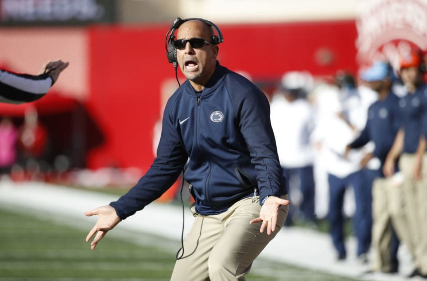 BLOOMINGTON, IN - OCTOBER 20: Head coach James Franklin of the Penn State Nittany Lions reacts in the second quarter of the game against the Indiana Hoosiers at Memorial Stadium on October 20, 2018 in Bloomington, Indiana. (Photo by Joe Robbins/Getty Images)