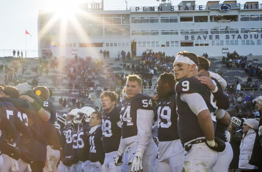 STATE COLLEGE, PA - NOVEMBER 10: Trace McSorley #9 of the Penn State Nittany Lions celebrates with teammates after the game against the Wisconsin Badgers at Beaver Stadium on November 10, 2018 in State College, Pennsylvania. (Photo by Scott Taetsch/Getty Images)