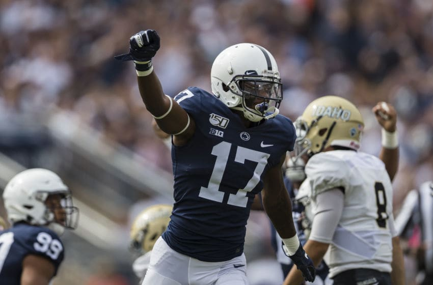STATE COLLEGE, PA - AUGUST 31: Garrett Taylor #17 of the Penn State Nittany Lions celebrates against the Idaho Vandals during the first half at Beaver Stadium on August 31, 2019 in State College, Pennsylvania. (Photo by Scott Taetsch/Getty Images)