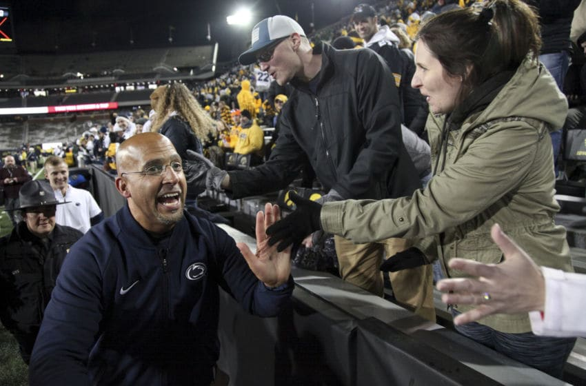 IOWA CITY, IOWA- OCTOBER 12: Head coach James Franklin of the Penn State Nittany Lions celebrates with fans following the match-up against the Iowa Hawkeyes, on October 12, 2019 at Kinnick Stadium in Iowa City, Iowa. (Photo by Matthew Holst/Getty Images)