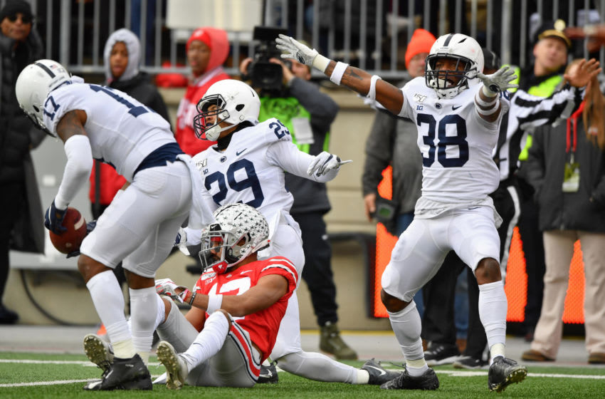 COLUMBUS, OH - NOVEMBER 23: Lamont Wade #38 of the Penn State Nittany Lions celebrates after John Reid #29 of the Penn State Nittany Lions broke up a pass intended for Chris Olave #17 of the Ohio State Buckeyes in the first quarter at Ohio Stadium on November 23, 2019 in Columbus, Ohio. (Photo by Jamie Sabau/Getty Images)