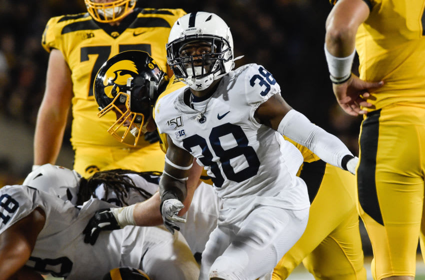 Oct 12, 2019; Iowa City, IA, USA; Penn State Nittany Lions safety Lamont Wade (38) in action against the Iowa Hawkeyes at Kinnick Stadium. Mandatory Credit: Jeffrey Becker-USA TODAY Sports