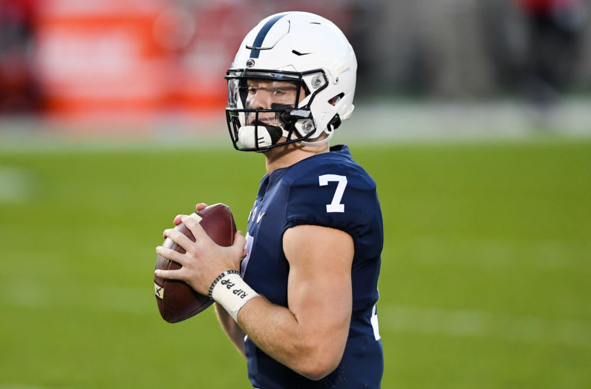Nov 7, 2020; University Park, Pennsylvania, USA; Penn State Nittany Lions quarterback Will Levis (7) warms up during a time-out Maryland Terrapins during the second quarter at Beaver Stadium. Mandatory Credit: Rich Barnes-USA TODAY Sports