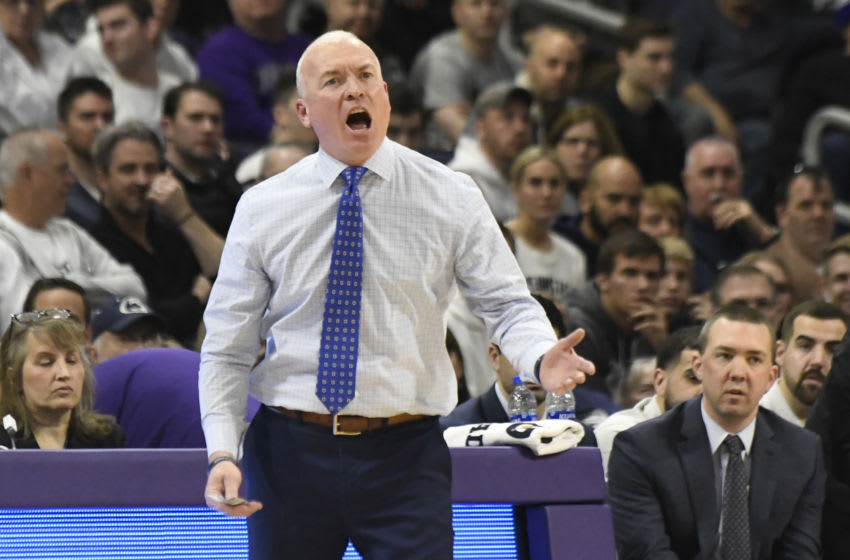 Mar 7, 2020; Evanston, Illinois, USA; Penn State Nittany Lions head coach Pat Chambers gestures to his team during the first half at Welsh-Ryan Arena. Mandatory Credit: David Banks-USA TODAY Sports