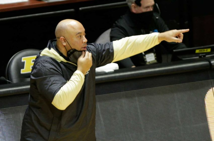 Purdue associate head coach Micah Shrewsberry motions during the second half of an NCAA men's basketball game, Saturday, Feb. 6, 2021 at Mackey Arena in West Lafayette. Bkc Purdue Vs Northwestern