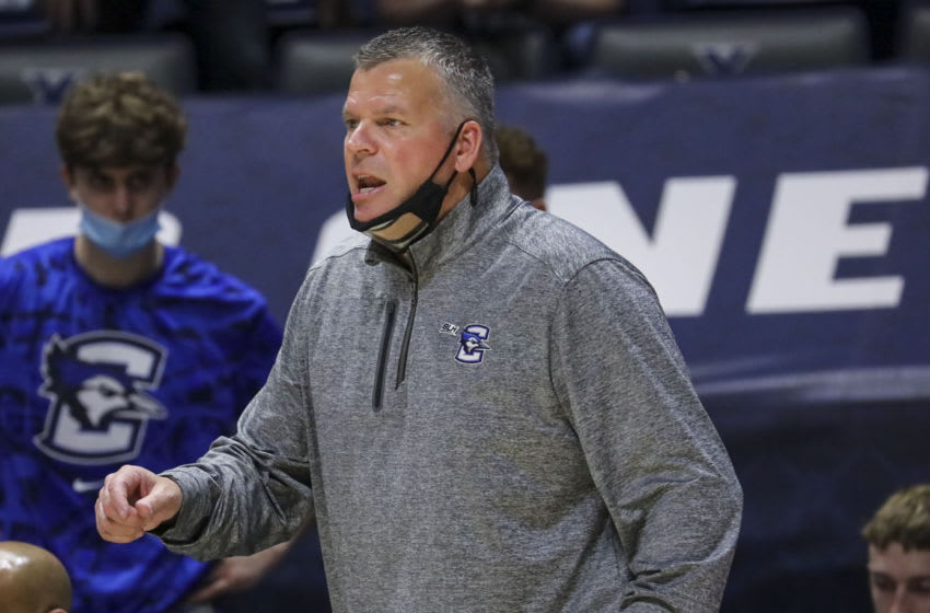 Feb 27, 2021; Cincinnati, Ohio, USA; Creighton Bluejays head coach Greg McDermott watches his team in the second half against the Xavier Musketeers at Cintas Center. Mandatory Credit: Katie Stratman-USA TODAY Sports