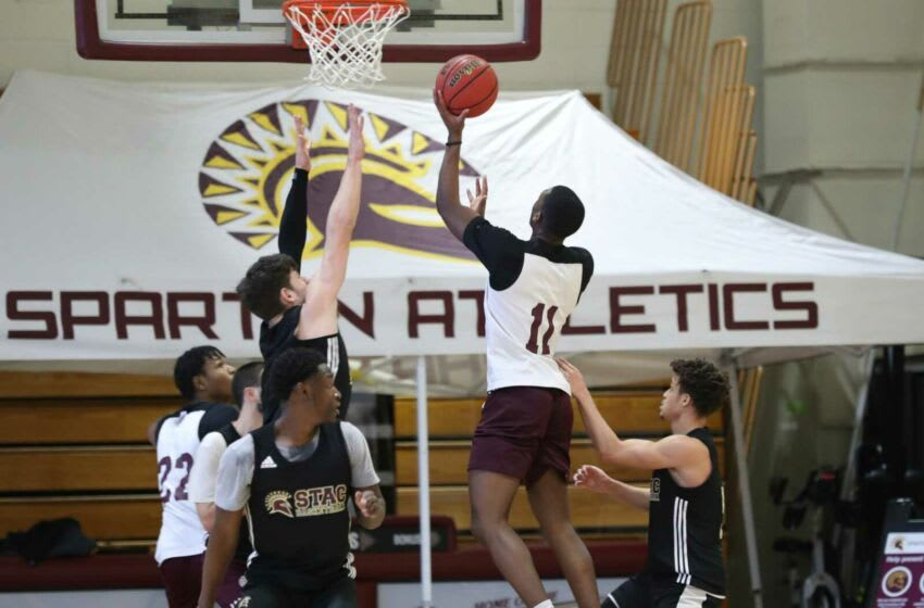 STAC freshman guard Kaylen Oweh puts up a shot during practice on the campus of St. Thomas Aquinas College in Sparkill on Tuesday, March 2, 2021 ahead of their conference tournament. Bball Practice