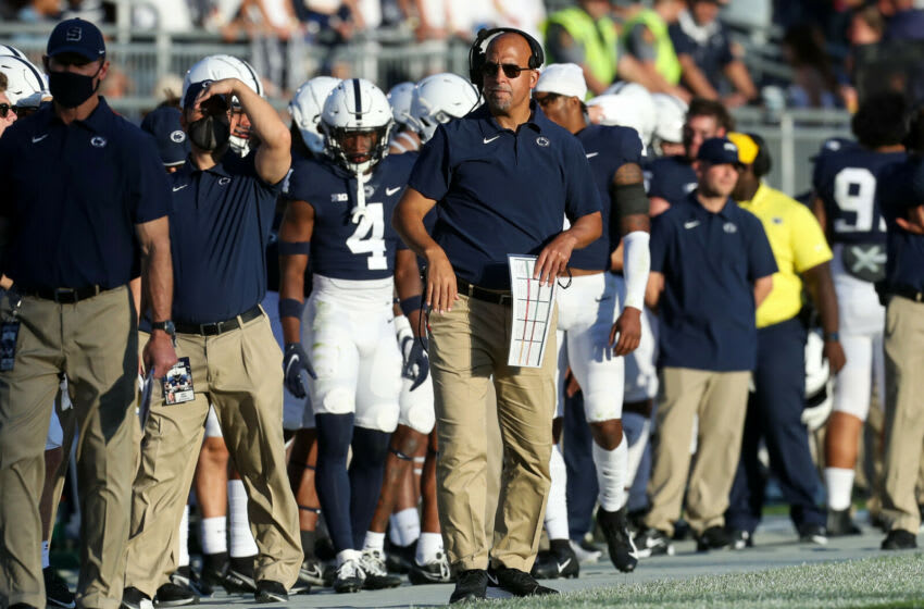 Sep 11, 2021; University Park, Pennsylvania, USA; Penn State Nittany Lions head coach James Franklin looks on from the sideline during the fourth quarter against the Ball State Cardinals at Beaver Stadium. Penn State defeated Ball State 44-13. Mandatory Credit: Matthew OHaren-USA TODAY Sports