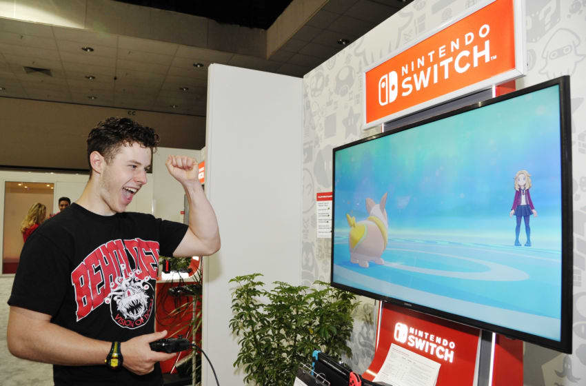 LOS ANGELES, CALIFORNIA - JUNE 12: Nolan Gould checks out 'Pokémon Sword and Pokémon Shield' for the Nintendo Switch system during the 2019 E3 Gaming Convention at Los Angeles Convention Center on June 12, 2019 in Los Angeles, California. (Photo by John Sciulli/Getty Images for Nintendo)