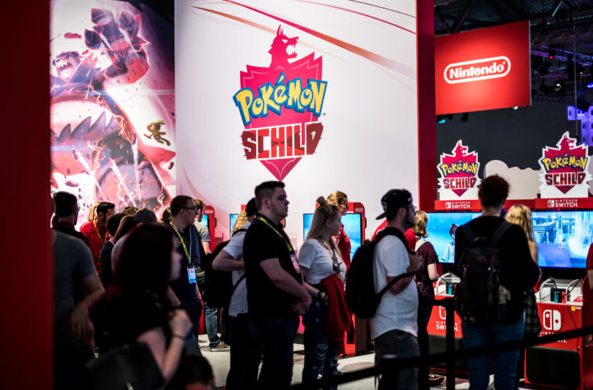 Pokemon Schild of Nitendo. (Photo by Lukas Schulze/Getty Images)