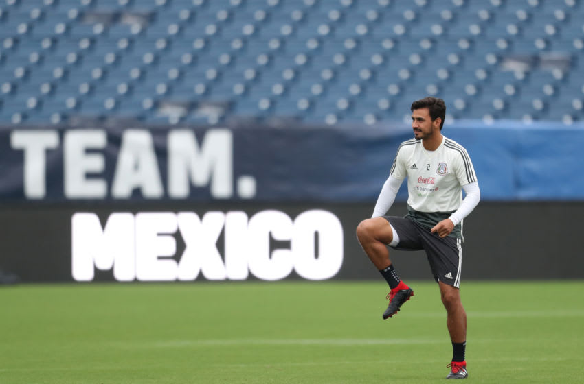 NASHVILLE, TN - SEPTEMBER 10: Oswaldo Alanis of Mexico warms up during the traning session prior to the international friendly game between Mexico and United States at Nissan Stadium on September 10, 2018 in Nashville, Tennessee. (Photo by Omar Vega/Getty Images)