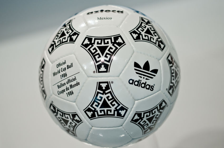 The 'Azteca Mexico' soccer ball which was the official ball of the 1986 soccer world cup in Mexico is pictured during the general meeting of sporting goods manufacturer adidas in Fuerth, Germany, 08 May 2014. Photo: DANIEL KARMANN/dpa | usage worldwide (Photo by Daniel Karmann/picture alliance via Getty Images)