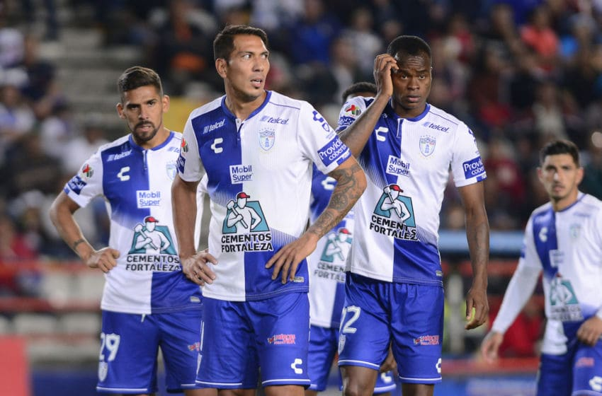 PACHUCA, MEXICO - MARCH 30: Franco Jara (L) Leonardo Ulloa (C) and Jaine Barreiro (R) of Pachuca during the 12th round matvh between Pachuca and Toluca as part of the Torneo Clausura 2019 Liga MX at Hidalgo Stadium on March 30, 2019 in Pachuca, Mexico. (Photo by Jaime Lopez/Jam Media/Getty Images)