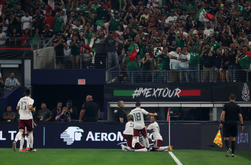 ARLINGTON, TX - JUNE 09: Jonathan dos Santos celebrates first goal of Mexico during the match between Ecuador and Mexico at AT&T Stadium on June 9, 2019 in Arlington, Texas. (Photo by Omar Vega/Getty Images)