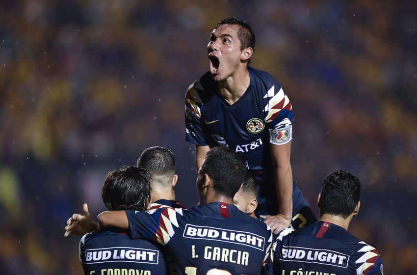 América players celebrate after Sebastián Córdova tied the game in minute 61. (Photo by Azael Rodriguez/Getty Images)