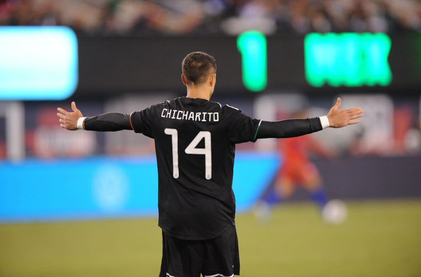 Javier Hernandez gestures during Mexico's Sept. 6 match against Team USA at MetLife Stadium on September 6, 2019 in East Rutherford, New Jersey. (Photo by Jose Argueta/ISI Photos/Getty Images).