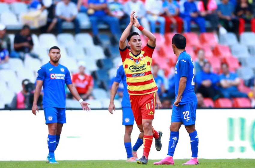 Morelia striker Carlos Ferreira celebrates after scoring his second goal to give the Monarcas a 2-1 lead. (Photo by Hector Vivas/Getty Images)