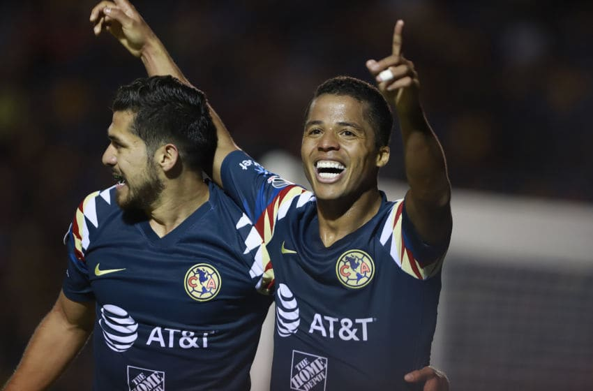 Giovani dos Santos celebrates after scoring America's third goal just before halftime. (Photo by Alfredo Lopez/Jam Media/Getty Images)
