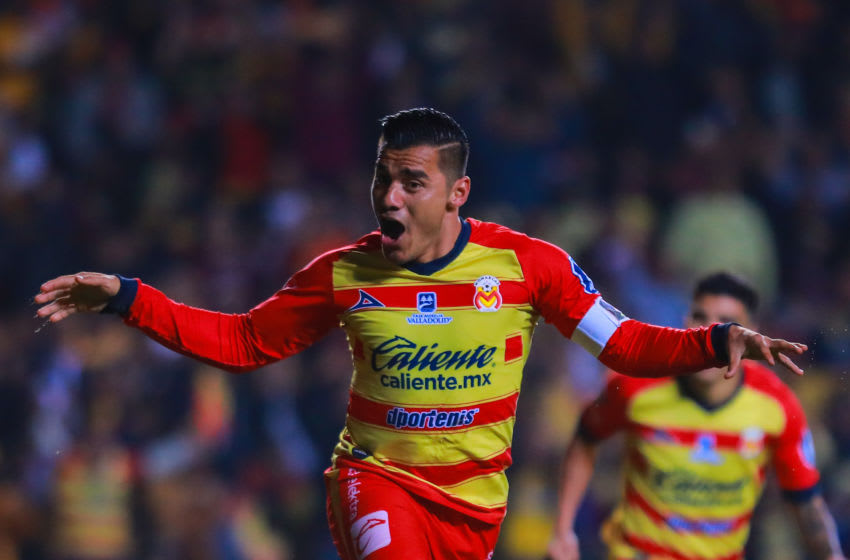MORELIA, MEXICO - DECEMBER 05: Aldo Rocha #26 of Morelia celebrates the second scored goal of Morelia during the Semifinals first leg match between Morelia and America as part of the Torneo Apertura 2019 Liga MX at Morelos Stadium on December 05, 2019 in Morelia, Mexico. (Photo by Manuel Velasquez/Getty Images)