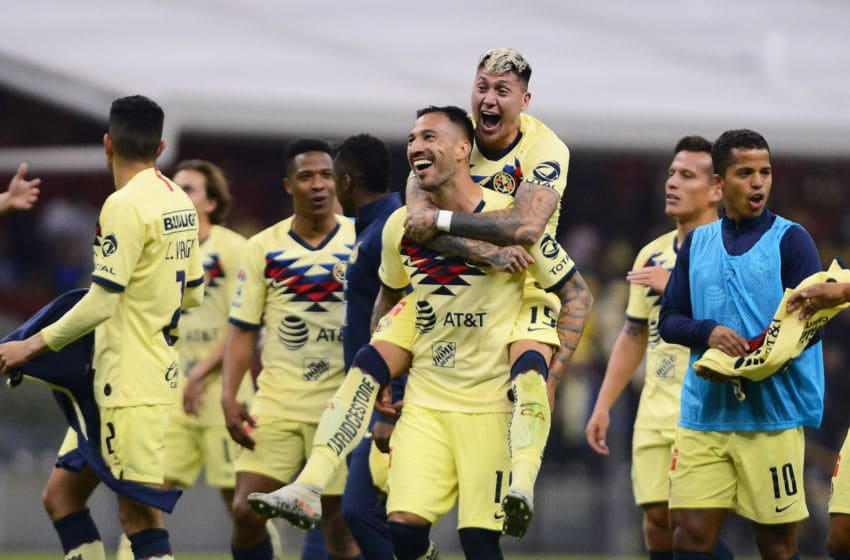 América players celebrate after qualifying for the Apertura 2019 Final by defeating Morelia on Dec. 5. (Photo by Mauricio Salas/Jam Media/Getty Images)