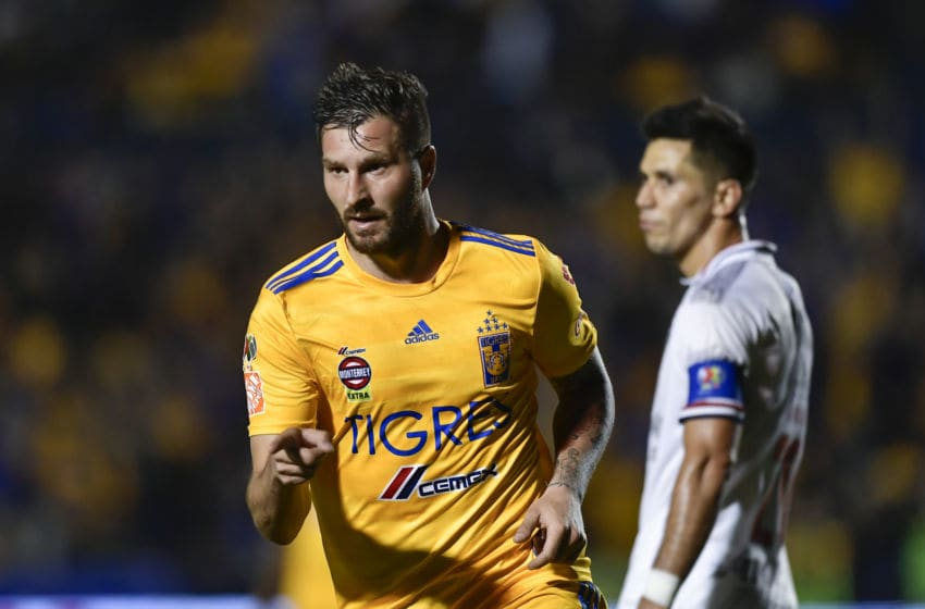 MONTERREY, MEXICO - FEBRUARY 08: Andre-Pierre Gignac #10 of Tigres celebrates after scoring his team's third goal during the 5th round match between Tigres UANL v Chivas as part of the Torneo Clausura 2020 Liga MX at Universitario Stadium on February 08, 2020 in Monterrey, Mexico. (Photo by Azael Rodriguez/Getty Images)