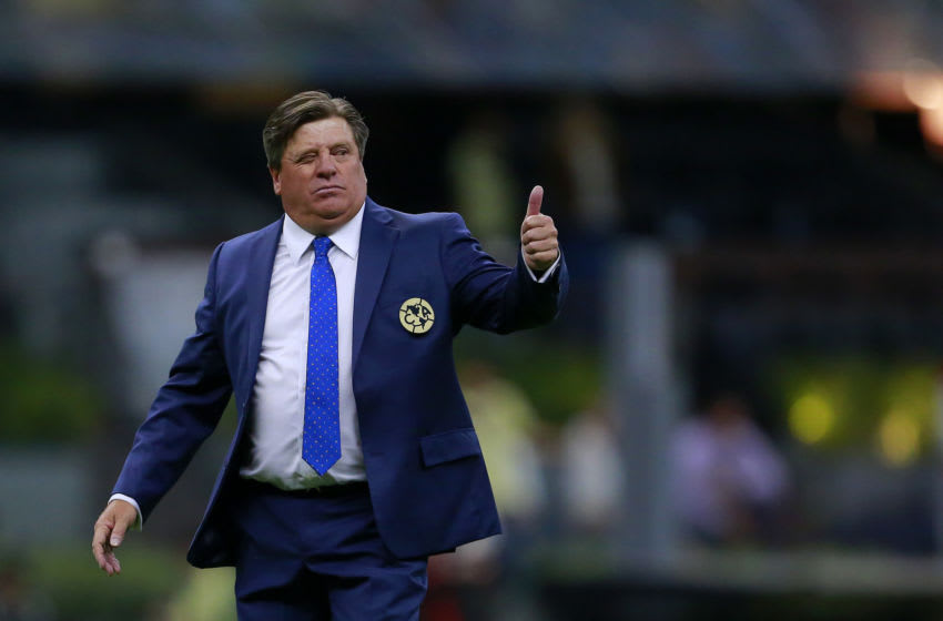 MEXICO CITY, MEXICO - FEBRUARY 15: Miguel Herrera coach of America reacts after the 6th round match between America and Atlas as part of the Torneo Clausura 2020 Liga MX at Azteca Stadium on February 15, 2020 in Mexico City, Mexico. (Photo by Mauricio Salas/Jam Media/Getty Images)
