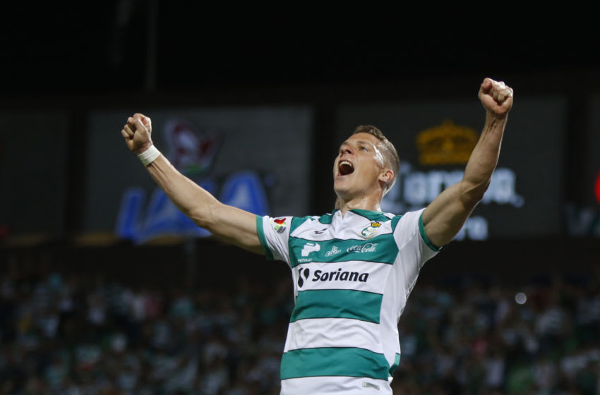 TORREON, MEXICO - MARCH 01: Julio Furch of Santos celebrates after scoring the first goal of his team during the 8th round match between Santos Laguna and Atlas as part of the Torneo Clausura 2020 Liga MX at Corona Stadium on March 1, 2020 in Torreon, Mexico. (Photo by Armando Marin/Jam Media/Getty Images)