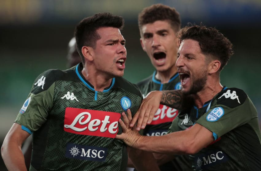 VERONA, ITALY - JUNE 23: Hirving Lozano (L) of SSC Napoli celebrates his goal with his team-mate Dries Mertens during the Serie A match between Hellas Verona and SSC Napoli at Stadio Marcantonio Bentegodi on June 23, 2020 in Verona, Italy. (Photo by Emilio Andreoli/Getty Images)