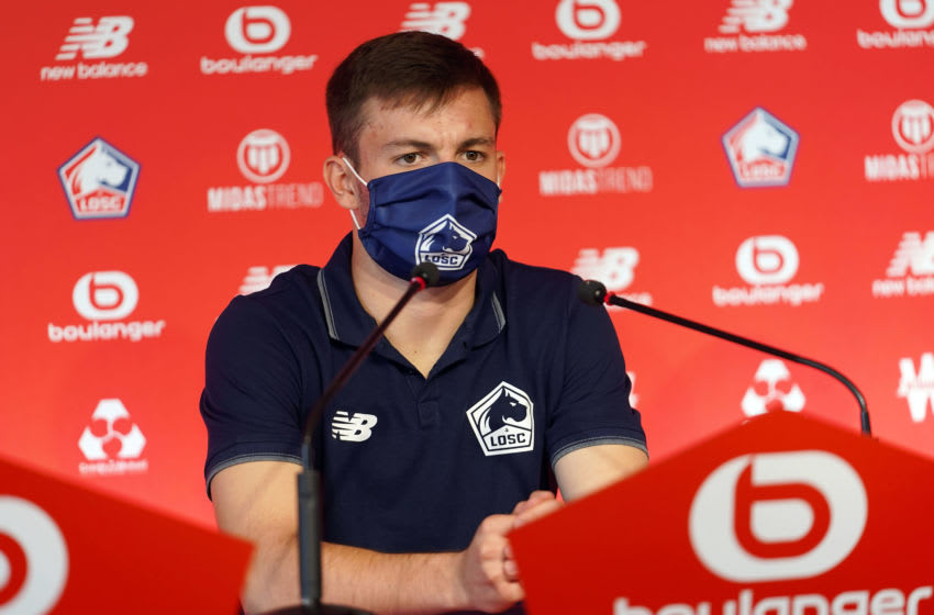 LILLE, FRANCE - AUGUST 01: Eugenio Pizzuto attends the presentation of new Lille's player Eugenio Pizzuto at LOSC's training center