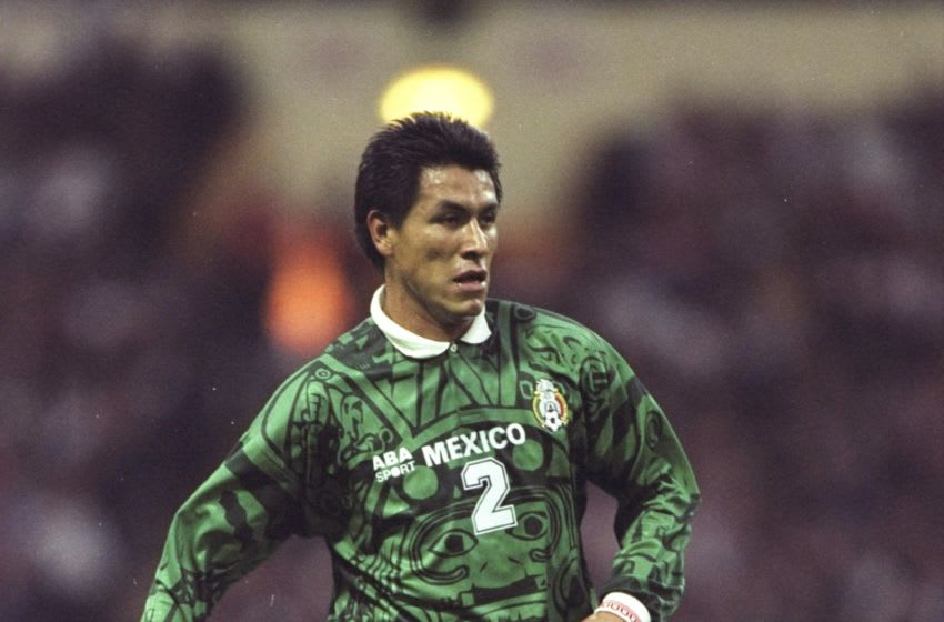 29 Mar 1997: Claudio Suarez of Mexico in action during the International Friendly against England at Wembley in London. England won 2-0. \ Mandatory Credit: Allsport UK /Allsport