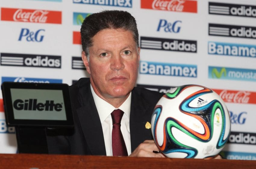 Ricardo Pelaez prepares to address the media to announce Mexico's final World Cup roster ahead of the 2014 World Cup. (Photo by Edgar Negrete/Clasos/LatinContent via Getty Images)