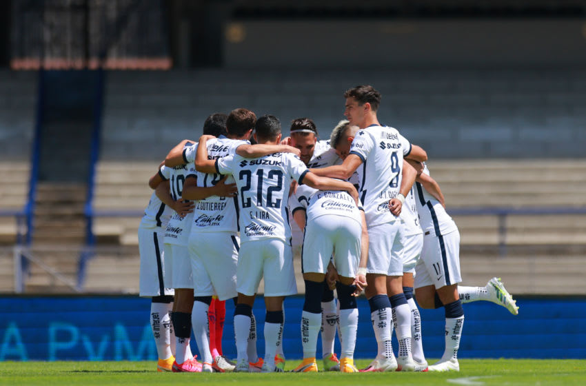 MEXICO CITY, MEXICO - AUGUST 30: Team of Pumas during the 7th round match between Pumas UNAM and Tijuana as part of the Torneo Guard1anes 2020 Liga MX at Olimpico Universitario Stadium on August 30, 2020 in Mexico City, Mexico. (Photo by Hector Vivas/Getty Images)