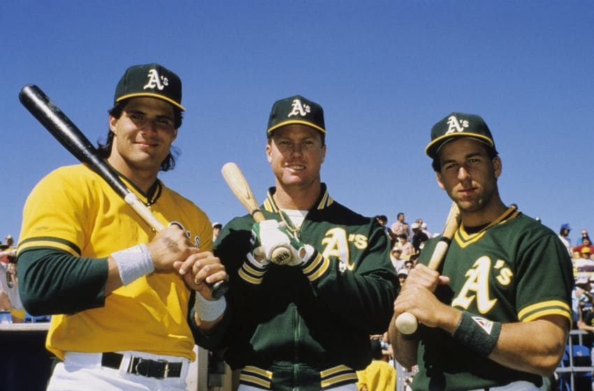 Oakland Athletics' three rookies of the year, Jose Canseco, Mark McGuire, and Walter Weiss, 1989. Photo by Ron Riesterer