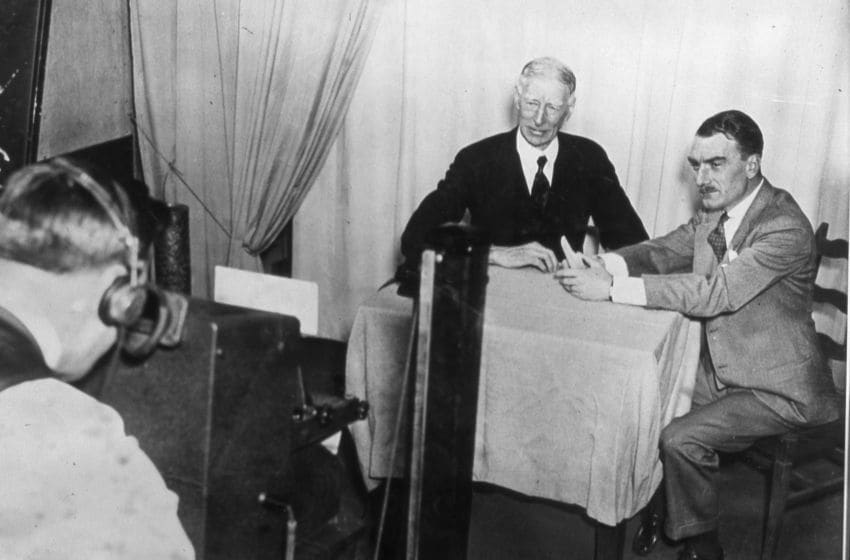 PHILADELPHIA, PA - FEBRUARY 11: Connie Mack, manager and owner of the Philadelphia Athletics on the left, is engaged in the first television sports interview with Boake Carter in a demonstration by Philco Television on February 11, 1937 in Philadelphia, Pennsylvania. (Photo Reproduction by Transcendental Graphics/Getty Images)