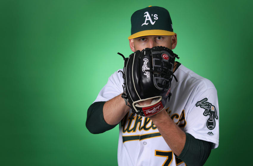 MESA, ARIZONA - FEBRUARY 19: Pitcher James Kaprielian #75 of the Oakland Athletics poses for a portrait during photo day at HoHoKam Stadium on February 19, 2019 in Mesa, Arizona. (Photo by Christian Petersen/Getty Images)
