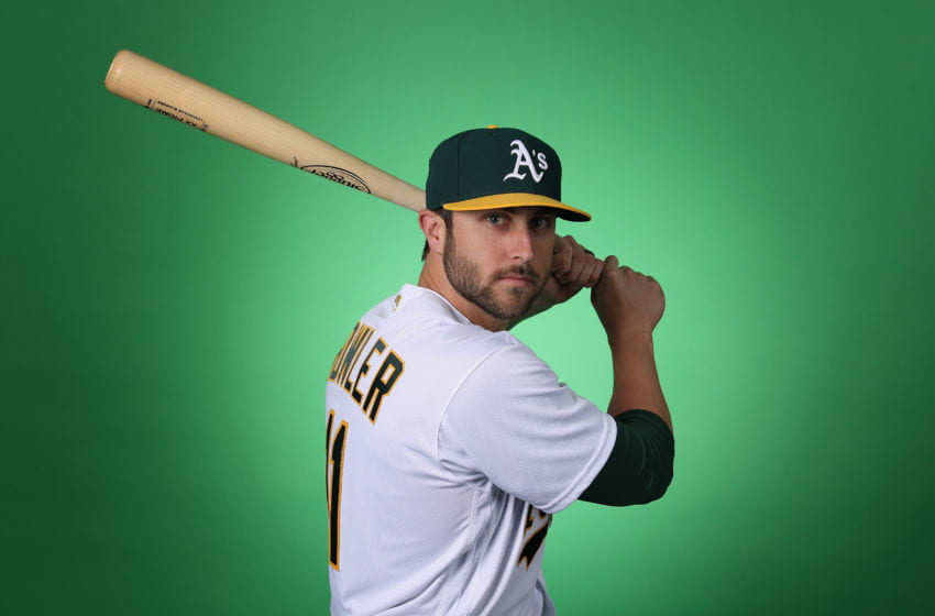 MESA, ARIZONA - FEBRUARY 19: Dustin Fowler #11 of the Oakland Athletics poses for a portrait during photo day at HoHoKam Stadium on February 19, 2019 in Mesa, Arizona. (Photo by Christian Petersen/Getty Images)