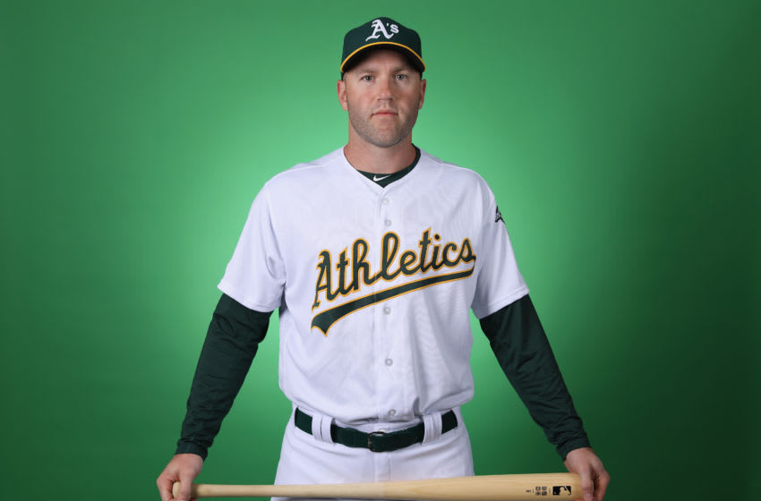 MESA, ARIZONA - FEBRUARY 19: Eric Campbell #8 of the Oakland Athletics poses for a portrait during photo day at HoHoKam Stadium on February 19, 2019 in Mesa, Arizona. (Photo by Christian Petersen/Getty Images)