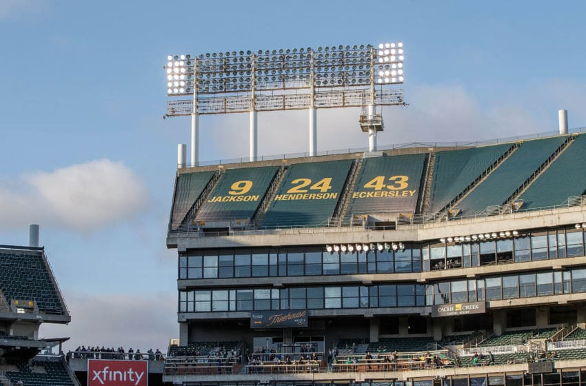 OAKLAND, CA - MAY 07: General view of a faulty light tower in left field before the game between the Oakland Athletics and the Cincinnati Reds at the Oakland Coliseum on May 7, 2019 in Oakland, California. The Oakland Athletics defeated the Cincinnati Reds 2-0. (Photo by Jason O. Watson/Getty Images)