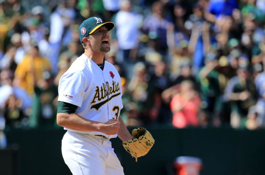 OAKLAND, CALIFORNIA - MAY 27: Blake Treinen #39 of the Oakland Athletics reacts to striking out Mike Trout #27 of the Los Angeles Angels to get the save and beat the Los Angeles Angels at Oakland-Alameda County Coliseum on May 27, 2019 in Oakland, California. (Photo by Daniel Shirey/Getty Images)