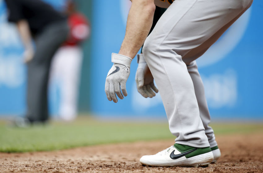 CLEVELAND, OH - MAY 22: Detailed view of Nike gear on Oakland Athletics player during a game against the Cleveland Indians at Progressive Field on May 22, 2019 in Cleveland, Ohio. Oakland won 7-2. (Photo by Joe Robbins/Getty Images)