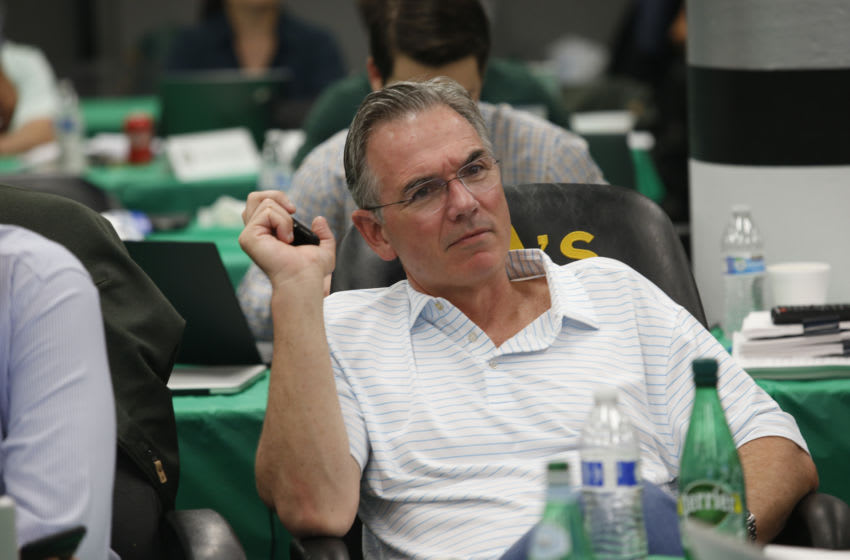 OAKLAND, CA - JUNE 3: Executive Vice President of Baseball Operations Billy Beane of the Oakland Athletics sits in the Athletics draft room, during the opening day of the 2019 MLB draft, at the Oakland-Alameda County Coliseum on June 3, 2019 in Oakland, California. (Photo by Michael Zagaris/Oakland Athletics/Getty Images)