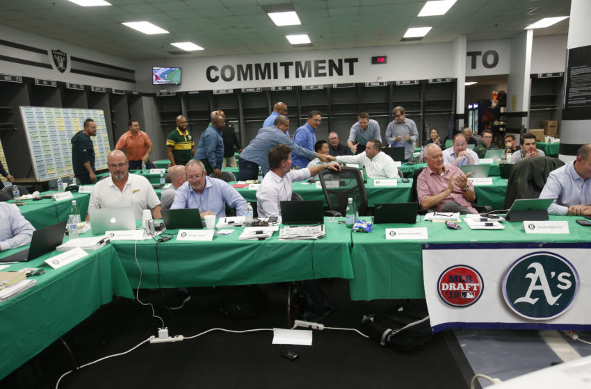 OAKLAND, CA - JUNE 3: A view of the Oakland Athletics draft room after they make their first round pick in the MLB draft, during the opening day of the 2019 MLB draft, at the Oakland-Alameda County Coliseum on June 3, 2019 in Oakland, California. (Photo by Michael Zagaris/Oakland Athletics/Getty Images)